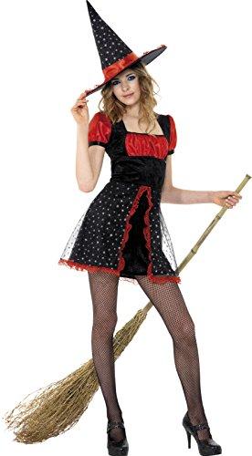 Sexy Hexe Kleid mit Hut für Körpergröße: 152-163cm