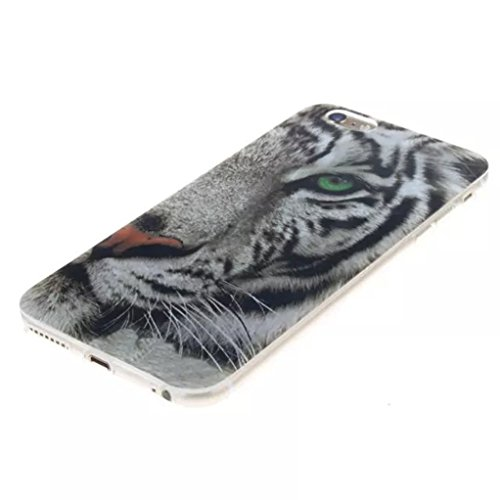 """Trumpshop Smartphone Case Coque Housse Etui de Protection pour Apple iPhone 6/6s 4.7"""" + Plume Rouge + Flexible Ultra Mince Silicone TPU Gel avec Absorption de Choc Tigre"""