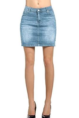 AMORETU Womens Retro High Waisted Mini Denim Jeans Skirt