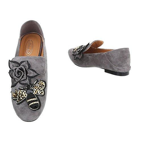 Ital-Design Chaussures Femme Mocassins Bloc Slippers Gris