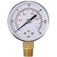Mini manómetro de Baja presión para Combustible, Aire, Aceite o Agua 50 mm 0-15 PSI 0-1 Bar 1/4 Pulgadas BSPT TS-50 Medidor de Doble Escala (ToGames)