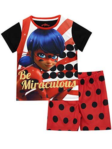 Miraculous Pijamas de Manga Corta para niñas Ladybug Rojo 9-10 Años