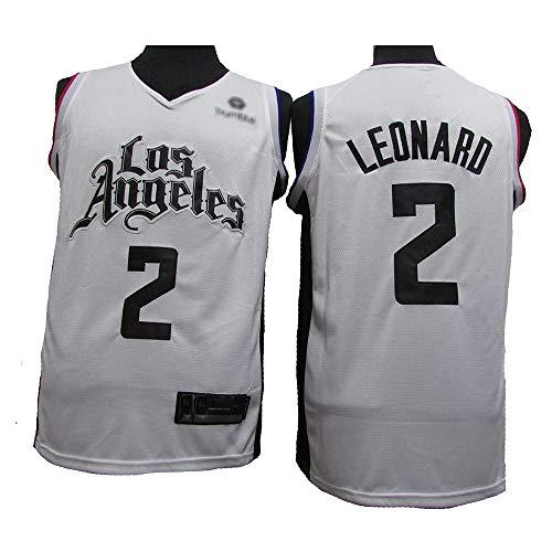 LSJ-ZZ Männer und Frauen Jersey NBA Clippers # 2 Kawhi Leonard, Breathable Mesh Gewebe Retro Swingman Sport-T-Shirts, Unisex Basketball-Trikot,L(180cm/75~85kg)