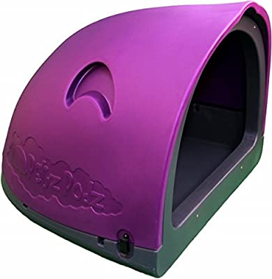PetzPodz POD LARGE for puppy, dog and chicken designer purple plastic dog crate, cave & den, dog kennel house igloo for indoor and outdoor use dog pen and dog home