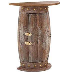 DanDiBo Wandtisch halbrund Tisch Weinregal Weinfass 0373-R Braun Schrank Fass aus Holz 73 cm Beistelltisch Konsole…