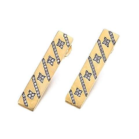Vintage Lange Ohrringe gelb vergoldet 90Stück klein Bling CZ quadratisch Ohrringe für Frauen Teen Party Schmuck