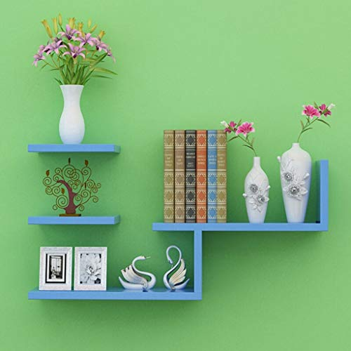 JIAQI High-End-Mehrzweckgestell Leqi Wand Partition Wall Rack modernen minimalistischen kreative Wohnzimmer Schlafzimmer dekorative Wandbehang Bücherregal Stilvolles und exquisites Mehrschichtregal - Rack Wall Blue Hat