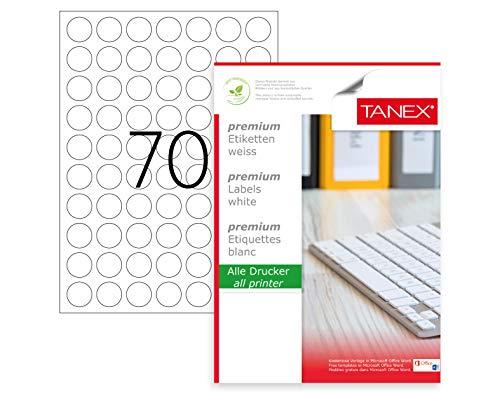TANEX TW-2125 Fluoreszierende Kennzeichnungsetiketten (Ø 25 mm) grün, 1750 Etiketten, 25 Blatt DIN A4, bedruckbar, selbstklebend - 1750 Laser