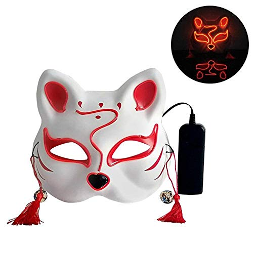 Kostüm 80 Nacht Prom - Halloween Katze Form leuchtende Maske, Karneval Nacht Prom Anime Masken Street Dance Maske