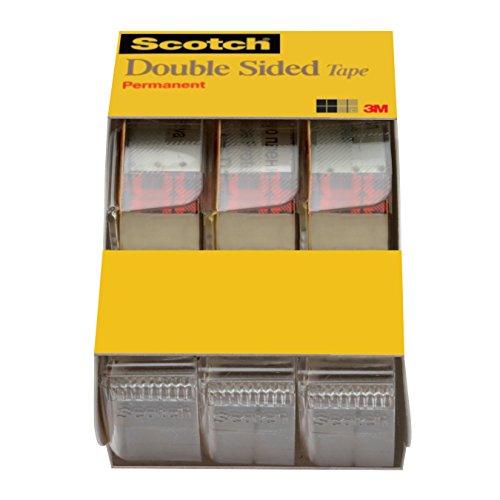 Scotch doppelseitiges Klebeband mit Abroller, kein Durcheinander, 1/5,1x 635cm, 3/Pack Caddy (3136)