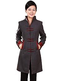 JTC Women Chinese Tang Suit Long V-Neck Coat Grey