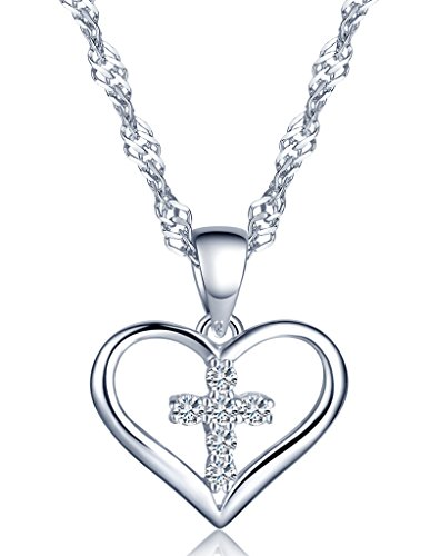Unendlich U Klassisch Herz Kreuz Damen Halskette 925 Sterling Silber Zirkonia Herzanhänger Kette mit Anhänger