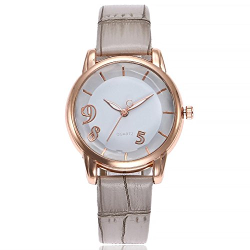 Uhren DELLIN V251 Beiläufige Quarz Lederband Newv Bügel Uhr Analoge Armbanduhr der Frauen (Grau)
