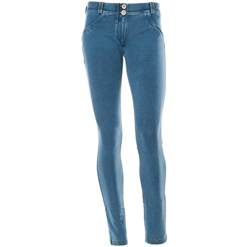 Freddy WR.UP Damen Pushup Denim - Low Waist Skinny mit Denim Effekt Blau - Light Blue /   Yellow Stitching