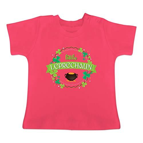 Girl Little Best Kostüm - Anlässe Baby - Little Leprechaun St Patricks Day - 6-12 Monate - Fuchsia - BZ02 - Baby T-Shirt Kurzarm
