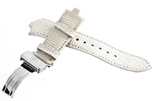 Movado Echt Licht Grau Leder Uhrenarmband silber tone Faltschließe 6mm x 20mm 4994