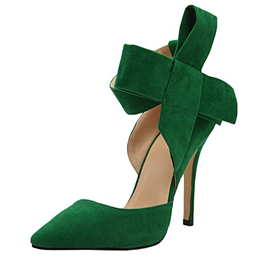 Oasap Women's Pointed Toe Ankle Bow High Heels Pumps green