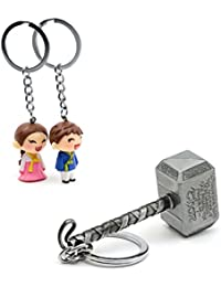 Three Shades Thor Hammer Marvel Avengers Superhero Silver Design Key Chain & Desi Couple Keychain (Bike & Car)