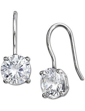 SilberDream Ohrring Kollektion - 925er Sterling Silber Ohrhänger rund offen mit synthetischen Zirkonia weiß Ohrring...