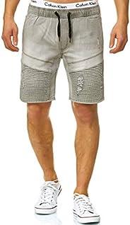 Indicode Heren Ernest jeansshort met 4 zakken en elastische band, 98% katoen | Kort Denim Stretch Broek Used L