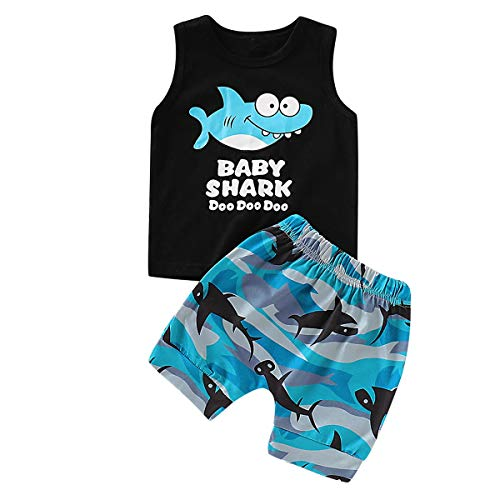 Haokaini Baby Boy Weste Shorts Set, Shark Tank Tops Waves Hosenanzug für Kleinkind Infant (Color : Black, Size : 18-24M) Shark Short Set