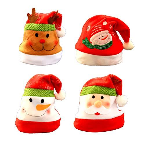 Party Kostüm Für Erwachsene Christmas - STOBOK 4 Stücke Weihnachtsmütze Nikolausmütze Weihnachtsdeko Xmas Party Deko für Kinder Erwachsene Weihnachtsmann Kostüm (Schneemann Weihnachtsmann Elch)