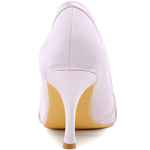 ElegantPark EP2094AE Donna Peep Toe AE01 Asportabile Clips Per Scarpe Tacco Alto Perle Fibbia Raso Scarpe Da Sposa Lavanda