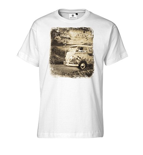Bedrucktes Herren T-Shirt mit Motiv VW Bulli Festival Weiß