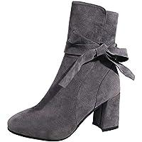Botines Martin del alto talón elegante mujer,Sonnena ❤️ Botíne hasta el tobillo Zapatos de tacones altos de mujer de fondo plano zapatos con cremallera bota corta calzado informal