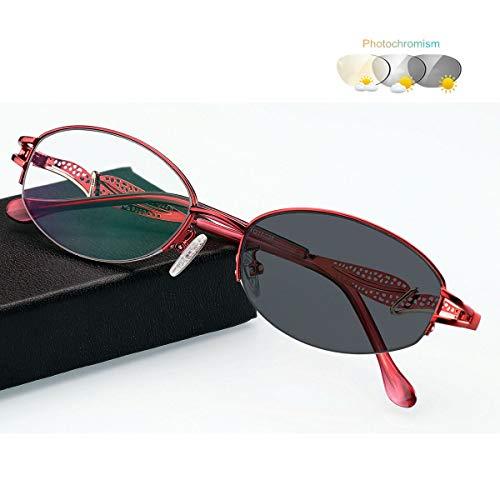 Eyetary Lesebrille Damen Progressive Multifokus 3 Stufen Vision Leser, Photochrome Sonnenbrille mit 9 stärke erhältlich, UV Schutz Optikerqualität Lesehilfe Sehhilfe,Red,+2.75