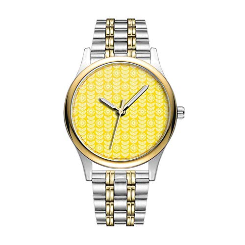 Personalisierte Minimalistische Bright Sunny Yellow and White Filigre Flowers Wristwatch Goldene Fashion wasserdichte Sportuhr