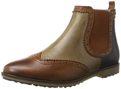 NOBRAND Damen Flat Chelsea Boots, Braun (Cognac), 37 EU