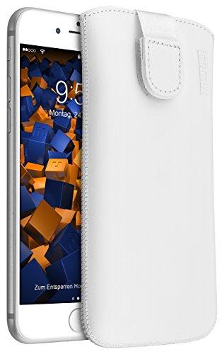 mumbi ECHT Ledertasche für iPhone 8 / iPhone 7 Tasche Leder Etui Weiss (Lasche mit Rückzugfunktion Ausziehhilfe)