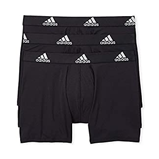 adidas Mens 3 Pack Climalite Performance Boxer Briefs (Medium, Black)