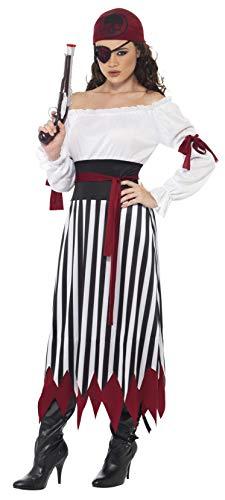 Lady Eine Pirate Kostüm - Piraten-Lady Kostüm Kleid mit Armbinden Gürtel und Kopftuch, Large