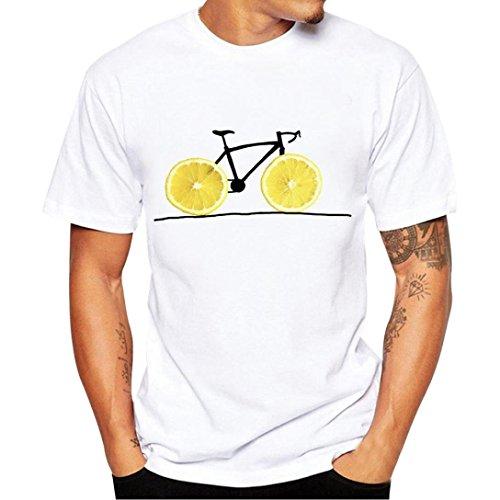 HCFKJ T-Shirt Blusen Herren, Druck Tees Shirt Kurzarm T Shirt Bluse (XL, YE)