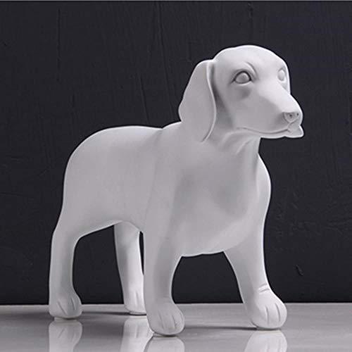 LDCP Labrador Figurine Moderne Animal Simple Chien Statue Résine Art & Craft Décorations pour La Maison 1 Pièce, Blanc