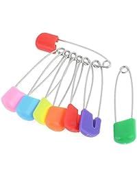 SODIAL(R) 8 piezas Color clasificado cabeza de plastico panal tela imperdibles para bebe