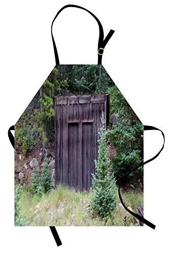 ABAKUHAUS Nebengebäude Kochschürze, Bauernhof-Leben-Haus-hölzerne Tür der Häuschen-Hütte im Wald verlässt Kunstdruck, Maschienenwaschbar Wasserdicht kein Verblassen, Dunkelbraun und Grün