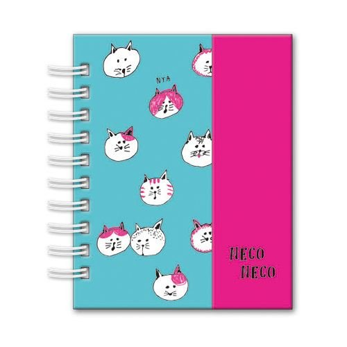 Linda mini libreta de anillas turquesa animal gato rosa de Japón