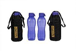 Signoraware Aqua Bottle with Bag Set, 500ml, Set of 2, Deep Violet