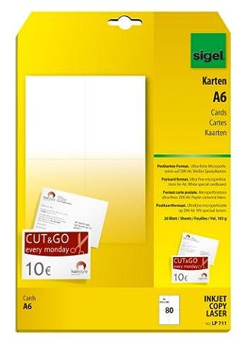 Sigel LP711 Lot de 80 Cartes Postales PC, A6,