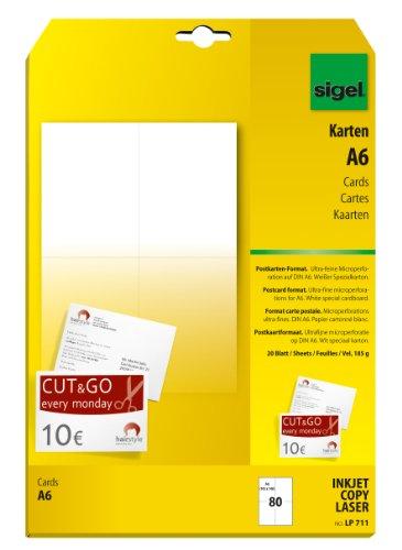 Sigel LP711 Blanko Karten/Postkarten weiß, A6, beidseitig bedruckbar, 185 g, 80 Stück