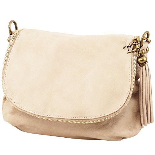 Tuscany Leather - TL Bag - Borsa morbida a tracolla con nappa Cognac - TL141223/6 Beige