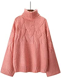 cokil Suéter de Punto de Manga Larga de Cuello Alto de Tortuga sólida  Ocasional de Moda 62c66fbb59a2