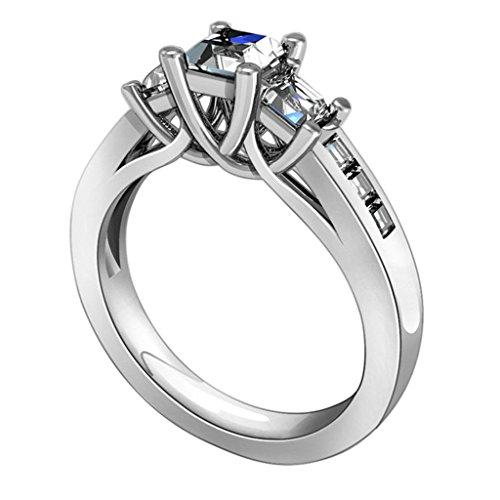Daesar Silberring Damen Ring Silber Ehering für Damen Verlobungsring Benutzerdefinierte Ring 4-Prong 3 Link Strass Ring Größe:58 (Kostüme Benutzerdefinierte Schmuck Design)