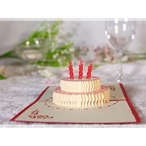 (Geburtstagskarte Pop Up Grußkarte Handgefertigt Geschenkkarte 3 Schicht Kuchen Design Klappkarten Geburtstagskuchen Grußkarten Valentinstag Karte Glückwunschkarte Urlaubskarte Dankeskarte(Rot))