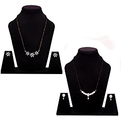 Sitashi 18 K Gold Plated AD American Diamond Mangalsutra Set Combo in fashion Jewellery for Women