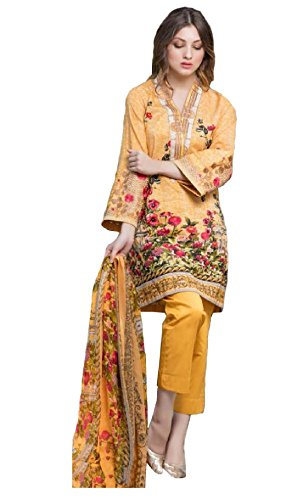 Madeesh Pakistani Suit for Women, Self Embroidery Top in Pure Cotton, Semi Lawn Bottom, Printed Chiffon Dupatta, Pakistani Style Designer Salwar Kameez for Girls/Women  available at amazon for Rs.1399