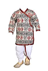 FOCIL cream om printed KURTA and dhoti PANT SET FOR KIDS
